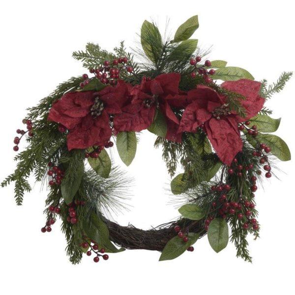 Χριστουγεννιάτικο Στεφάνι Υφασμάτινο, Γκι/ Αλεξανδρινά Δ40
