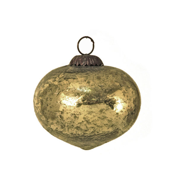 Χριστουγεννιάτικο Στολίδι Ρόμβος Οξειδωμένο Γυαλί Χρυσό 10cm, Σετ Των 2