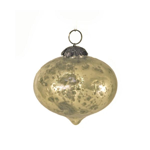 Χριστουγεννιάτικο Στολίδι Ρόμβος Οξειδωμένο Γυαλί Σαμπανί 10cm, Σετ Των 2