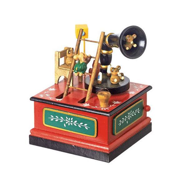 Χριστουγεννιάτικο Ξύλινο Μουσικό Κουτί Πολυχρωμία ''Γραμμόφωνο''