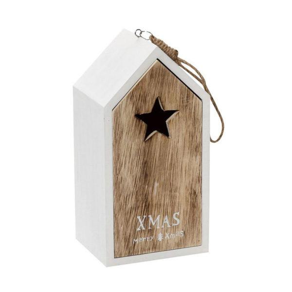 Χριστουγεννιάτικο Ξύλινο Σπιτάκι XMAS Λευκό/ Natural Υ24
