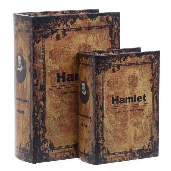 """Διακοσμητικά Κουτιά Βιβλία Αντικέ Ξύλινα Καφέ """"Hamlet"""", Σετ Των 2"""