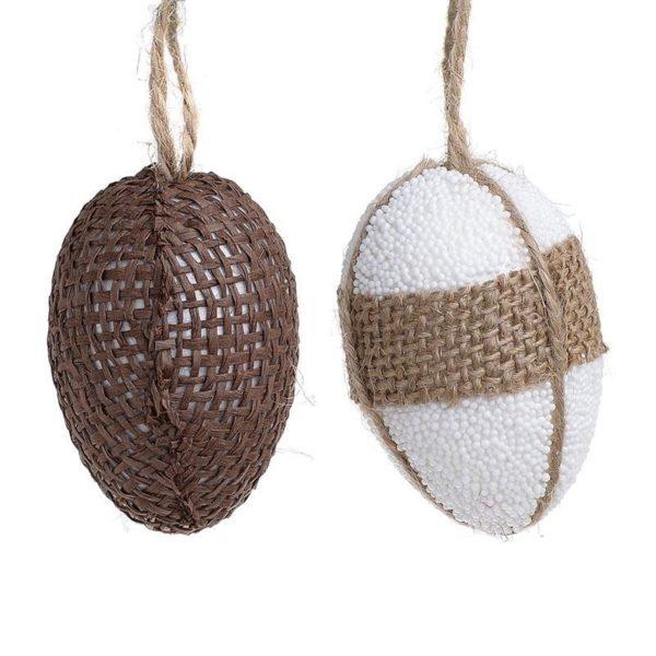Διακοσμητικά Πασχαλινά Αυγά Natural Καφέ/ Λευκό, Σετ Των 12 Σε Συσκευασία Δώρου
