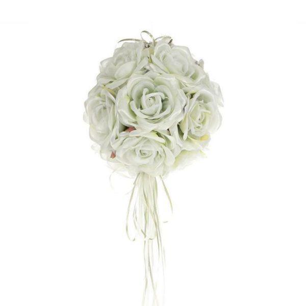 Διακοσμητική Μπάλα Κρεμαστή Με Υφασμάτινα Τριαντάφυλλα Λευκή/ Γαλάζια Δ20