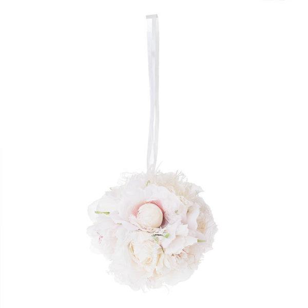 Διακοσμητική Μπάλα Κρεμαστή Με Υφασμάτινα Τριαντάφυλλα Ροζ/ Σομόν Δ18