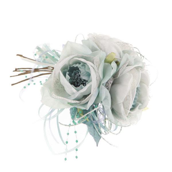 Διακοσμητική Μπουτουνιέρα Με Υφασμάτινα Λευκά/ Γαλάζια Τριαντάφυλλα Υ22