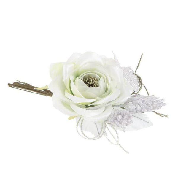 Διακοσμητική Μπουτουνιέρα Με Υφασμάτινα Λευκά Τριαντάφυλλα Υ20