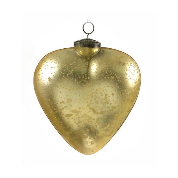 Διακοσμητική Χριστουγεννιάτικη Γυάλινη Vintage Καρδιά, Χρυσή, Σετ Των 2