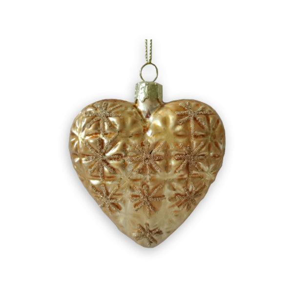 Διακοσμητική Χριστουγεννιάτικη Καρδιά Ανάγλυφη Αντικέ Χρυσό ''Edelweis'', Σετ Των 2