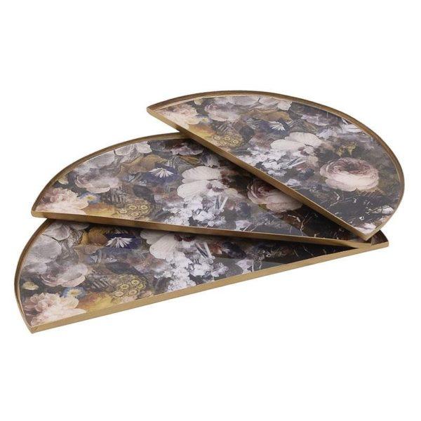 Διακοσμητικοί Δίσκοι Μεταλλικοί 'Victorian Flowers' Μαύρο/ Χρυσό 29.5x15x1, Σετ Των 3, Inart