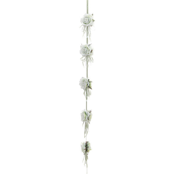 Διακοσμητική Γιρλάντα Υφασμάτινη Με Λευκά/Γαλάζια Τριαντάφυλλα Υ180