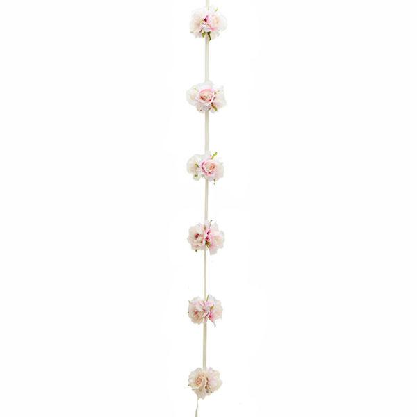 Διακοσμητική Γιρλάντα Υφασμάτινη Με Τριαντάφυλλα Ροζ/ Σομόν Υ210