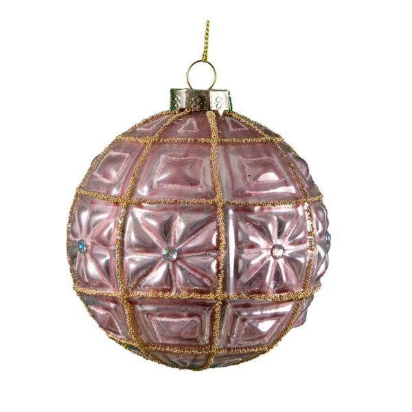 Διακοσμητική Γυάλινη Μπάλλα Περλέ Ροζ/ Χρυσό 10cm Σε 2 Σχέδια