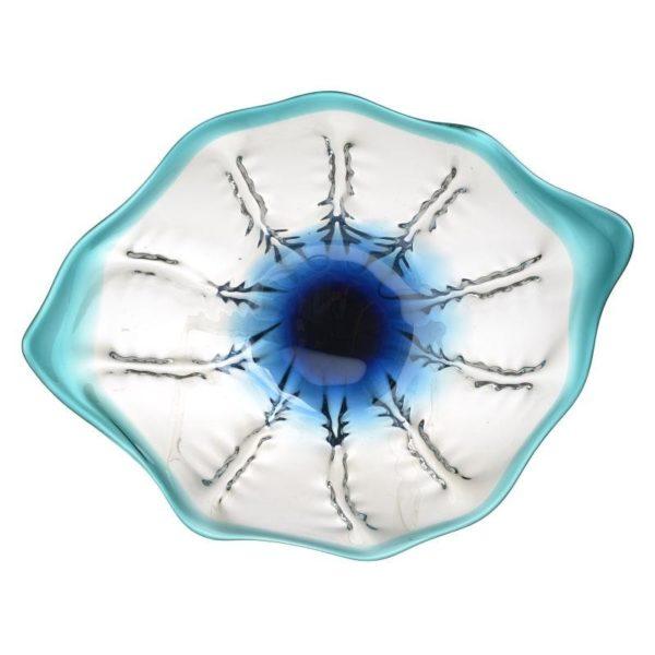 Διακοσμητική Γυάλινη Κουπ Μουράνο Λευκό/ Γαλάζιο 47x36x7