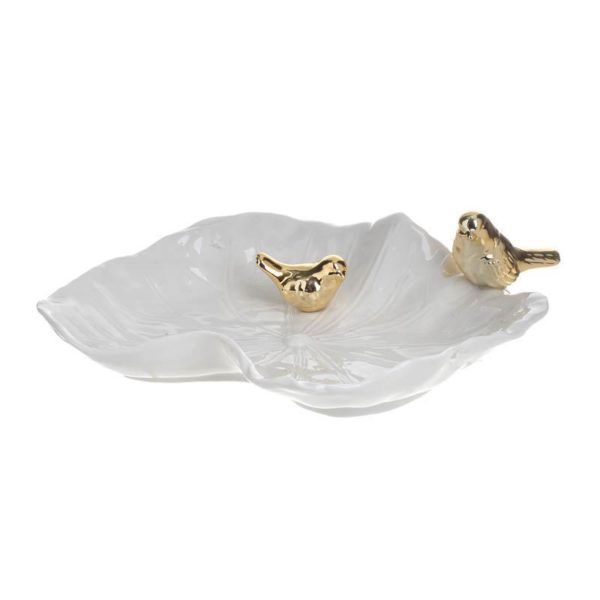 Διακοσμητική Πιατέλα/ Μπιζουτιέρα Λευκή Με Χρυσά Πουλάκια 22.5x6.5