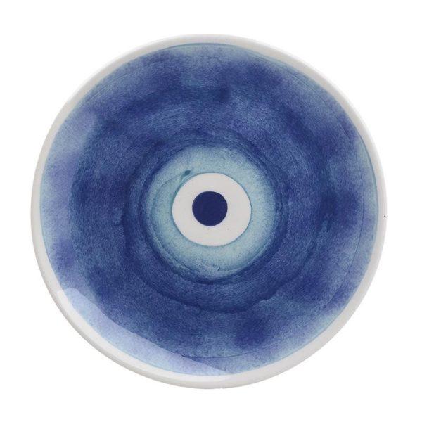 Διακοσμητική Πιατέλα Κεραμική 'Μάτι' Μπλε/ Λευκό Δ26