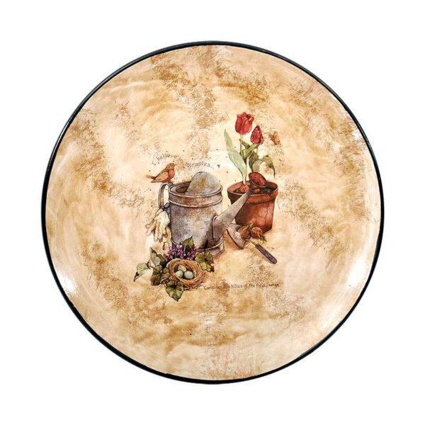 Διακοσμητική Πιατέλα Κεραμική Στρογγυλή ''Miracles'' Μπεζ/ Καφέ Δ28