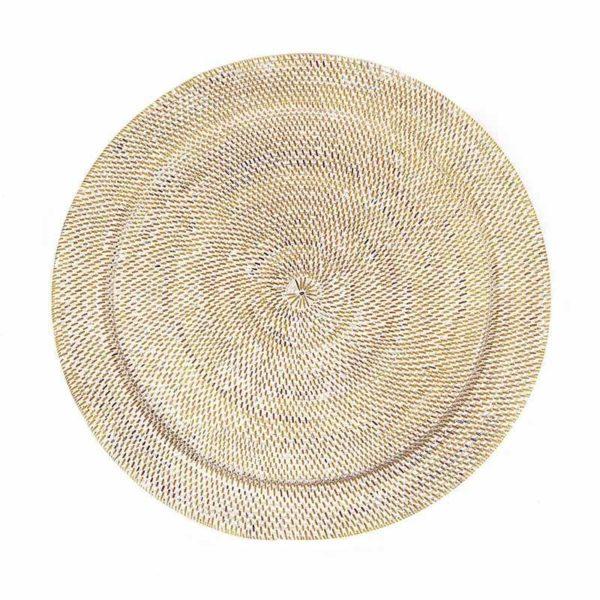 Διακοσμητική Πιατέλα Ρατάν Λευκή/ Natural Δ70