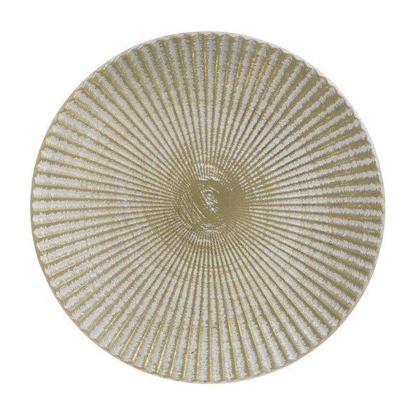 Διακοσμητική Πιατέλα Ξύλινη Αντικέ Εκρού/ Χρυσή 'Rays' Δ32, Inart
