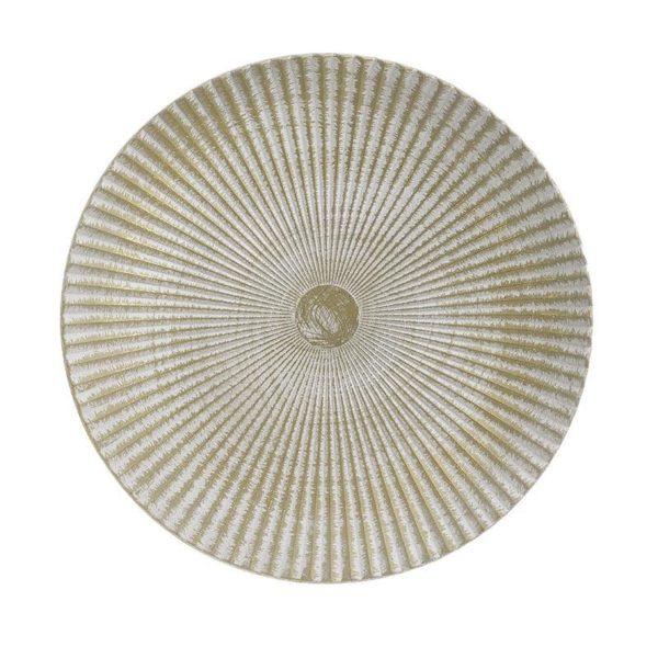 Διακοσμητική Πιατέλα Ξύλινη Αντικέ Εκρού/ Χρυσή 'Rays' Δ40, Inart