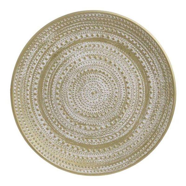Διακοσμητική Πιατέλα Ξύλινη Αντικέ Εκρού/ Χρυσή 'Relief' Δ50, Inart
