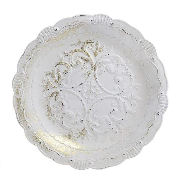 Διακοσμητική Πιατέλα Ξύλινη Αντικέ Λευκό/ Χρυσό Δ49, Inart