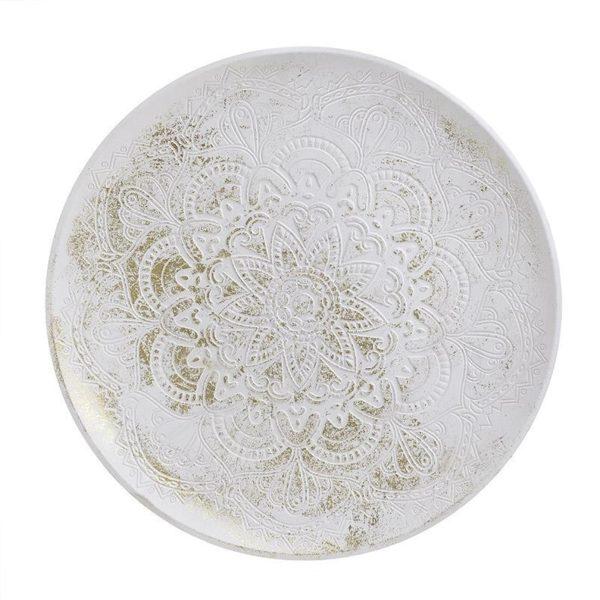 Διακοσμητική Πιατέλα Ξύλινη Στρόγγυλη Αντικέ Λευκό/ Χρυσό Δ32, Inart