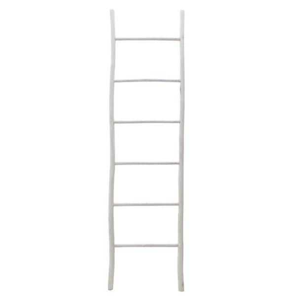 Διακοσμητική Σκάλα Από Φυσικό Bamboo Σε Λευκό Χρώμα Υ190