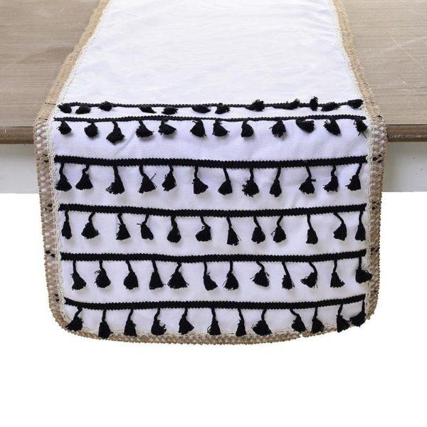 Διακοσμητική Τραβέρσα Υφασμάτινη Λευκή Με Μαύρες Φούντες 'Tribal' 40x140
