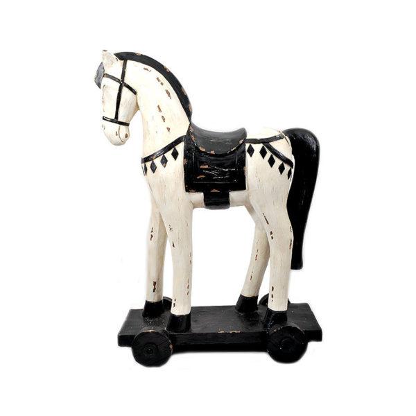 Διακοσμητικό Άλογο Ξύλινο Αντικέ Λευκό/ Μαύρο Με Ροδάκια Υ104.50