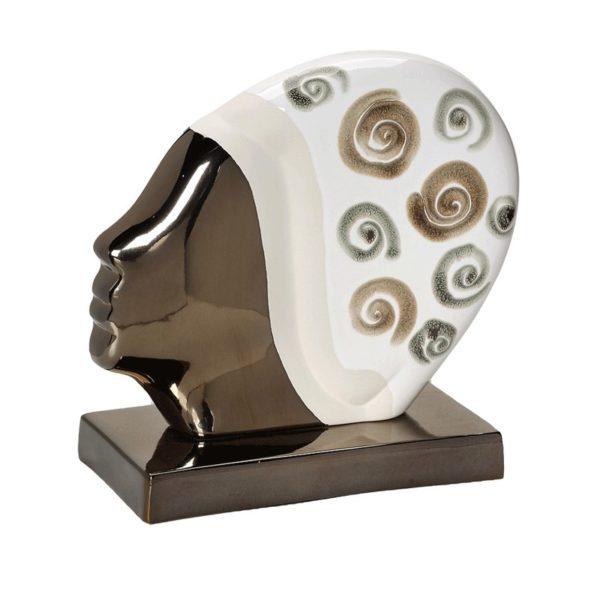 Διακοσμητικό Επιτραπέζιο Μεταλλικό Κεφάλι ''Swimming'' Λευκό/ Bronze 29cm
