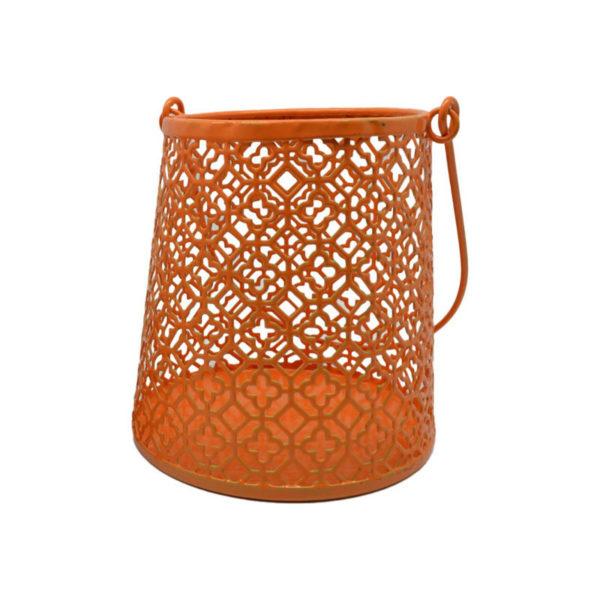 Διακοσμητικό Φανάρι/ Κηροπήγιο Μεταλλικό Διάτρητο Πορτοκαλί 10x11