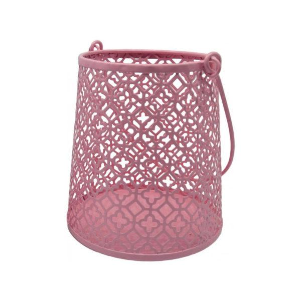 Διακοσμητικό Φανάρι/ Κηροπήγιο Μεταλλικό Διάτρητο Ροζ 12x13