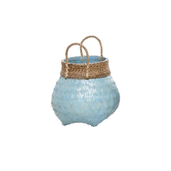 Διακοσμητικό Καλάθι Με Χερούλια Πλέξη Φυσικό Bamboo 'Blue Lagoon' Δ30 Υ37