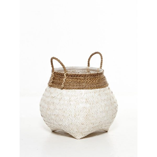 Διακοσμητικό Καλάθι Με Χερούλια Πλέξη Φυσικό Bamboo Λευκό Δ30 Υ37