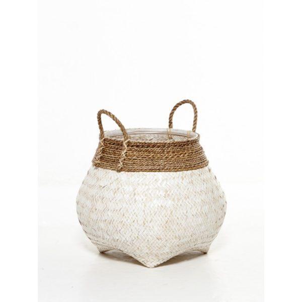 Διακοσμητικό Καλάθι Με Χερούλια Πλέξη Φυσικό Bamboo Λευκό Δ55 Υ45