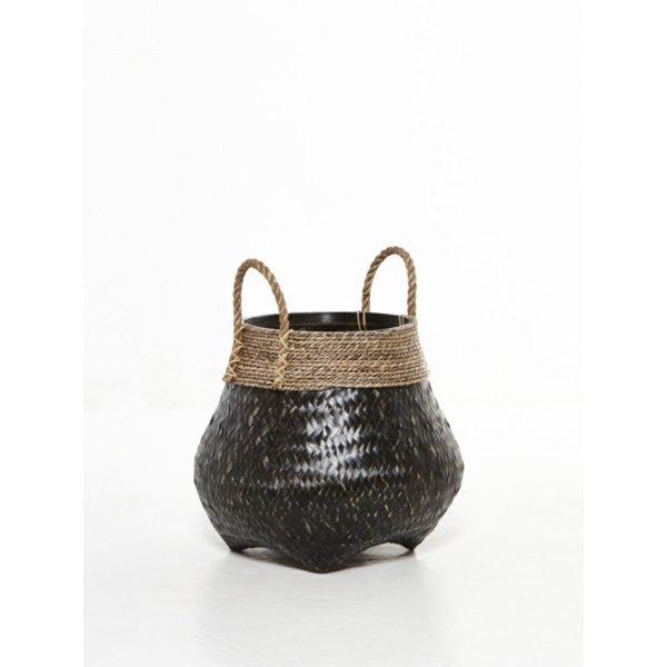 Διακοσμητικό Καλάθι Με Χερούλια Πλέξη Φυσικό Bamboo Μαύρο Δ30 Υ37