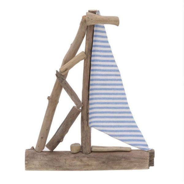 Διακοσμητικό Καράβι Με Θαλασσόξυλα Natural/ Γαλάζιο 27x4x34