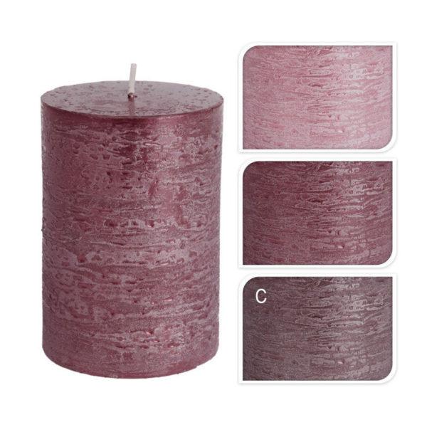 Διακοσμητικό Κερί Κορμός Rustic Μεταλλικό Ροζ