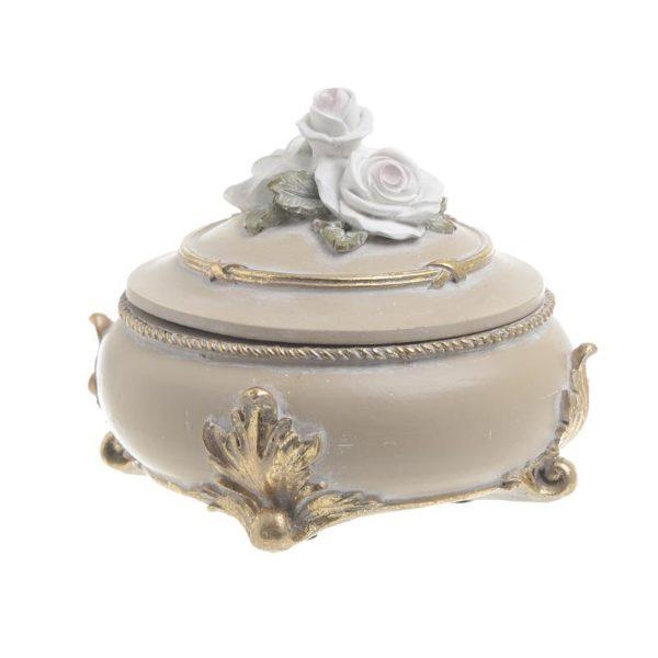 Διακοσμητικό Κουτί Αντικέ Με Ανάγλυφα Τριαντάφυλλα Μπεζ/ Χρυσό Δ13.5 Υ10