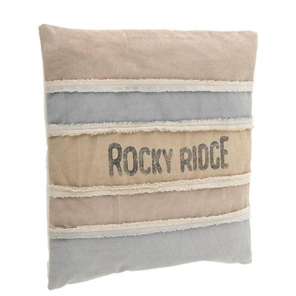 Διακοσμητικό Μαξιλάρι Τετράγωνο Καμβάς Μπεζ/ Γαλάζιο 'Rocky Ridge' 45x45