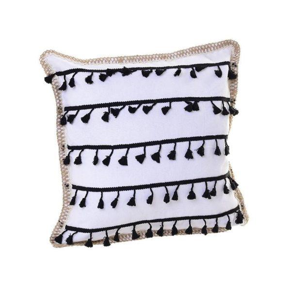 Διακοσμητικό Μαξιλάρι Υφασμάτινο Λευκό Με Μαύρες Φούντες 'Tribal' 45x45