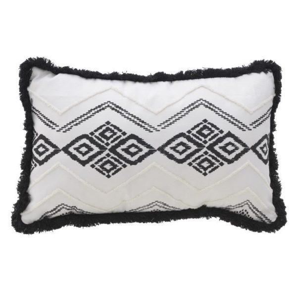 Διακοσμητικό Μαξιλάρι Υφασμάτινο Λευκό Με Μαύρη Τρέσσα Και Σχέδια 'Tribal' 30x50