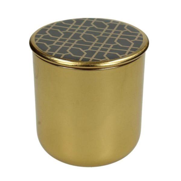 Διακοσμητικό Μεταλλικό Κουτί Art Deco Χρυσό 'Disegni' 9.5x9.5, Α | ZAROS