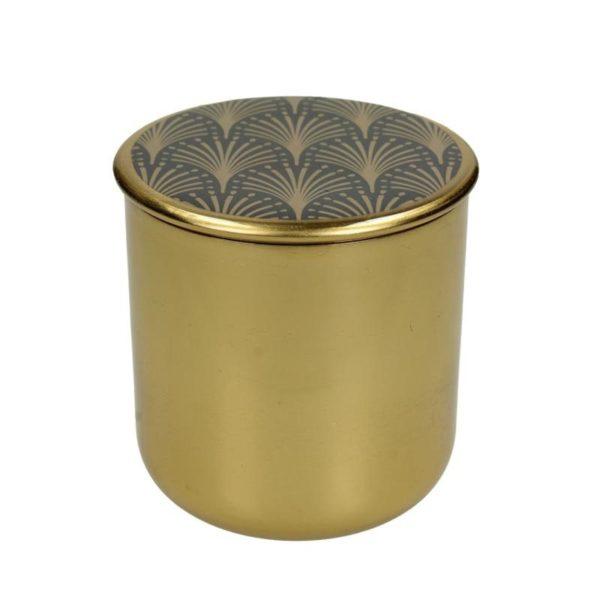Διακοσμητικό Μεταλλικό Κουτί Art Deco Χρυσό 'Disegni' 9.5x9.5, Β | ZAROS