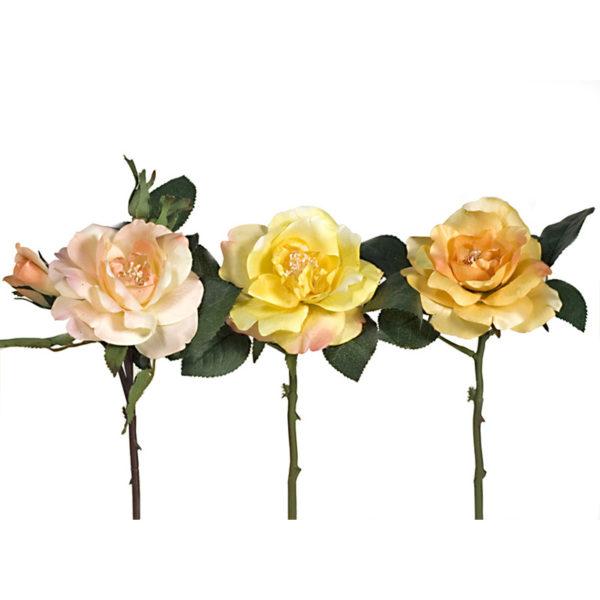 Διακοσμητικό Πικ Υφασμάτινο Τριαντάφυλλο Σομόν/ Κίτρινο/ Πορτοκαλί, Σετ Των 3