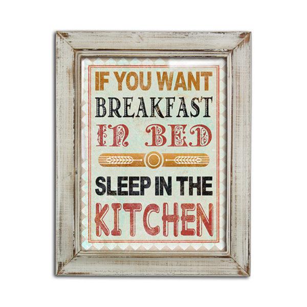"""Διακοσμητικό Πινακάκι Ξύλινo Vintage Με Μπεζ Κορνίζα """"Kitchen"""" 39x48"""
