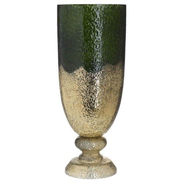 Διακοσμητικό Βάζο Γυάλινο Ανάγλυφo Πράσινο/ Χρυσό Υ47