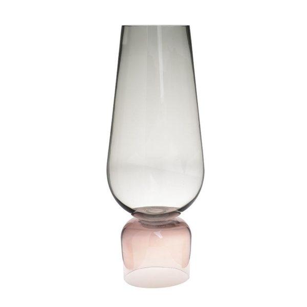 Διακοσμητικό Βάζο Γυάλινο Γκρι/ Ροζ Υ62, Inart