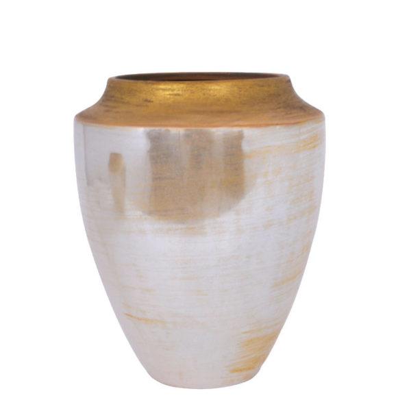 Διακοσμητικό Βάζο Κεραμικό Γυαλιστερό Μπεζ/ Χρυσό Στόμιο Υ28